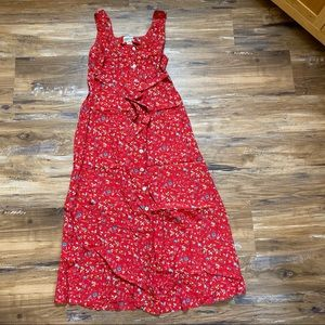 Robbie Bee- Red Floral button up maxi dress